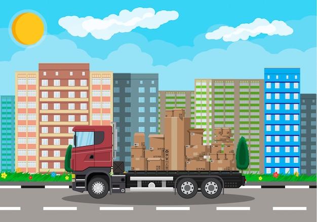 Truck transporting brown cardboard package
