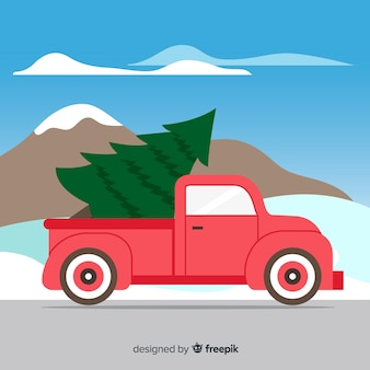 Truck transporting christmas tree