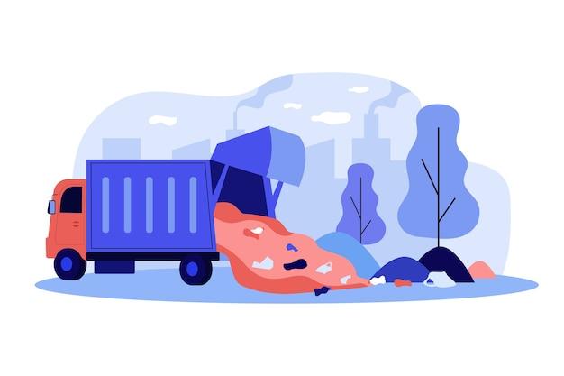 Грузовик, разгружающий мусор в парке