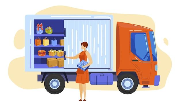Грузовик с косметической коробкой, векторная иллюстрация, транспортная служба с подарочным дизайном, плоский женский персонаж, принимает подарок из фургона.