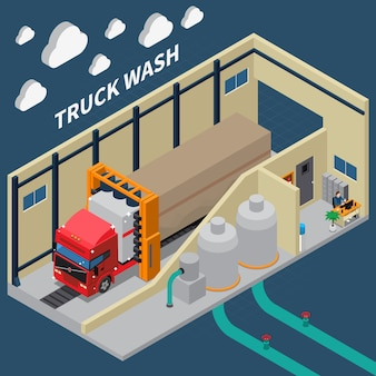Truck wash isometric composition