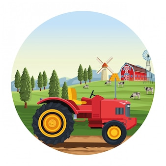 Truck with barn and windmill round illustration
