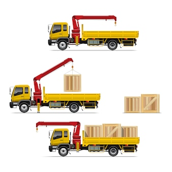 Truck with crane set illustration
