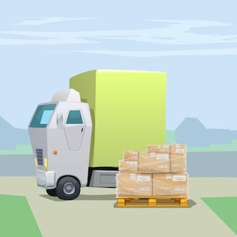 스트레치 필름으로 감싸 인 팔레트에 많은 카톤 소포가있는 트럭