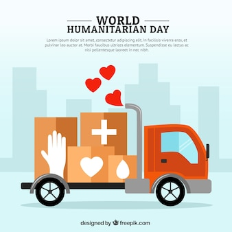 Truck with medical boxes humanitarian background