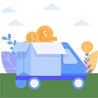 Truck with money against background park area.