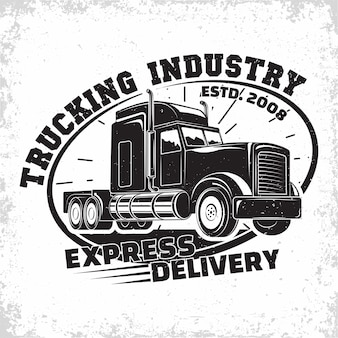 運送会社のロゴデザイン、トラックレンタル組織のエンブレム、配達会社の印刷スタンプ、大型トラックのタイポグラフィvエンブレム