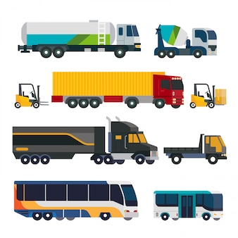 Trucks and bus