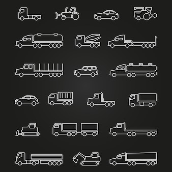 Trucks, cars, machines line icons of set