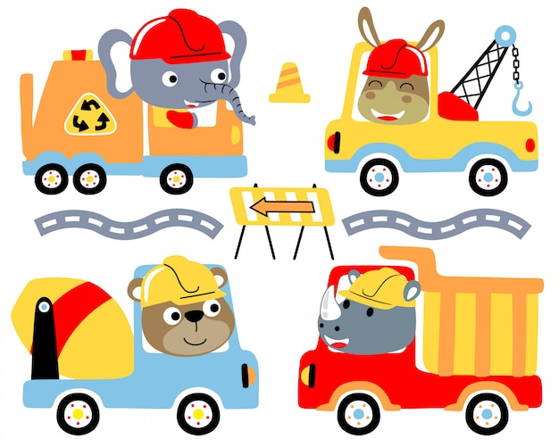 Trucks cartoon set with funny drivers