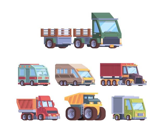 트럭 컬렉션입니다. 건축업자 벡터 삽화를 위한 중공업 및 화물 서비스 차량 우편 배달 트레일러 운송. 화물 대형 트럭, 산업용 차량 및 트럭 컬렉션