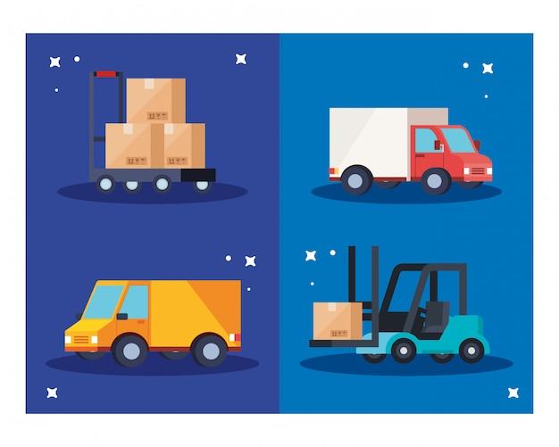 トラックフォークリフトとカートベクターデザイン上のボックス