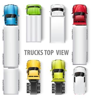 Вид сверху грузовиков. иллюстрация