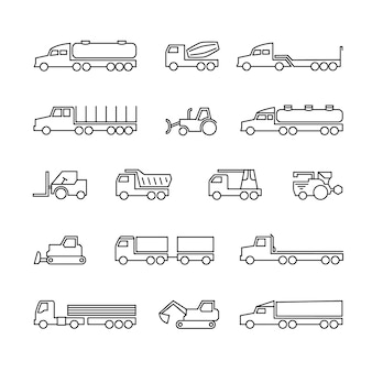 Trucks, tractors and heavy equipment line icons