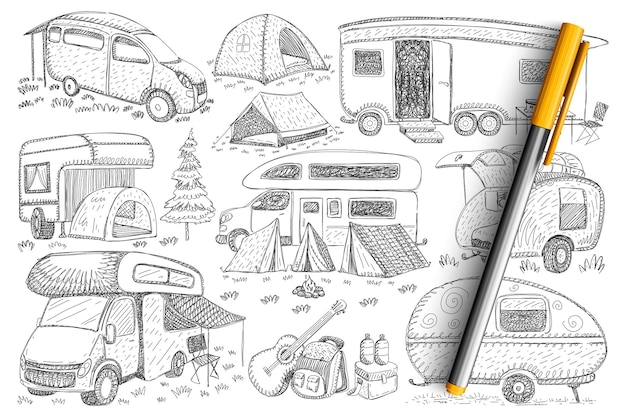 Trucks for travelling doodle set. collection of hand drawn trucks vehicles, campings, tents and accessories for hiking and traveling on nature isolated.