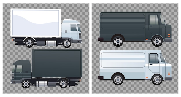Trucks and vans black and white colors branding mockup