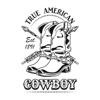 True american cowboy vector illustration. cowboy boots and crossed arrows with text