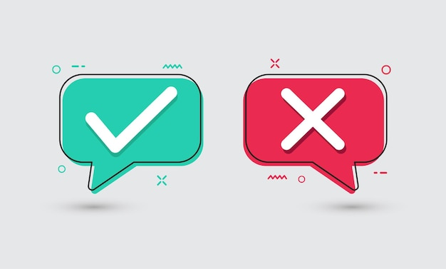 True and false flat icons green check mark and red cross vector