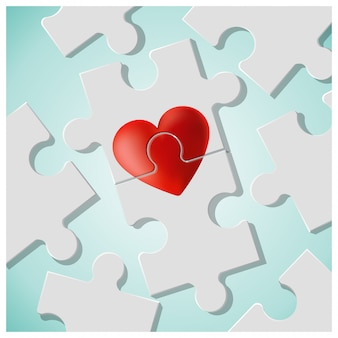 True love concept with pieces of red heart puzzle join together