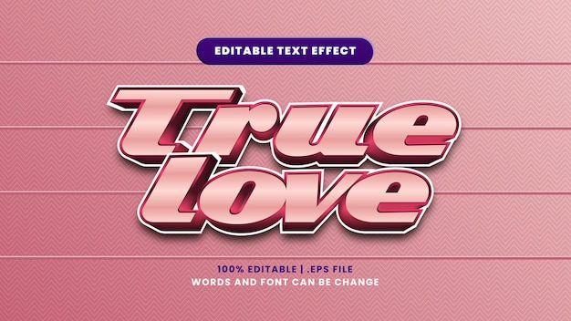 True love editable text effect in modern 3d style