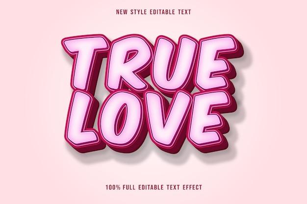 Настоящая любовь редактируемый текстовый эффект в розовом стиле