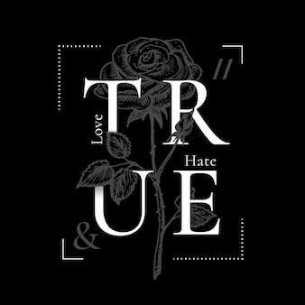 True love and hate abstract vector print design