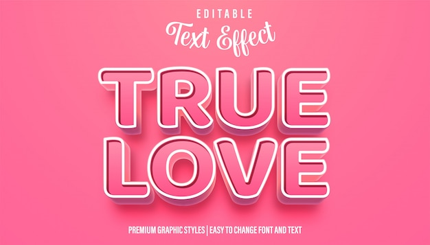 True love pinky style редактируемый текстовый эффект