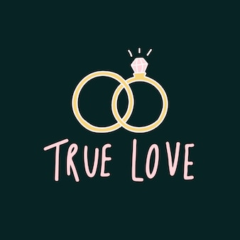 True love typography with wedding rings vector