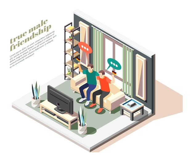 True male friends watching sport game on tv holding german flags isometric illustration