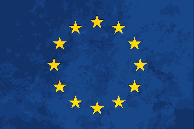 True proportions european union flag with texture