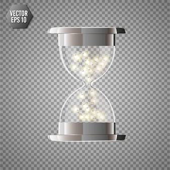 True transparent hourglass with glowing lights inside, isolated on transparent background.