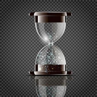 True transparent sand hourglass isolated
