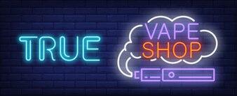 True vape shop neon sign. Purple electronic cigarette with smoke cloud.