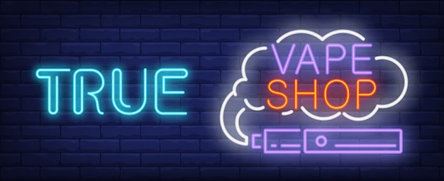 True vape shop neon sign. purple electronic cigarette with smoke cloud.