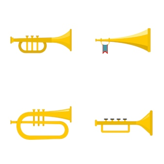 Trumpet horn musical instrument icons set