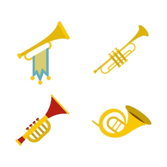 Trumpet icon set. flat set of trumpet vector icons collection isolated