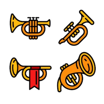 Trumpet icons set, outline style