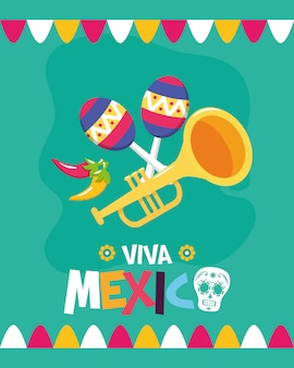 Trumpet and maracas for viva mexico