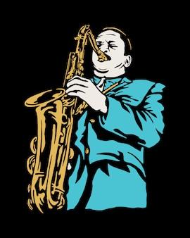 Trumpet player ilustration