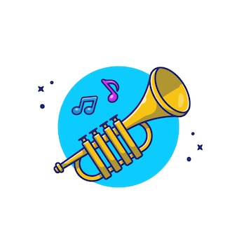 음악 노트 만화 아이콘 일러스트와 함께 트럼펫 음악 악기 아이콘 개념 절연 프리미엄입니다. 플랫 만화 스타일