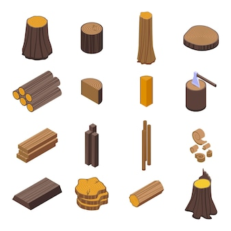 Набор ствола дерева. изометрические набор ствола дерева для веб-дизайна на белом фоне