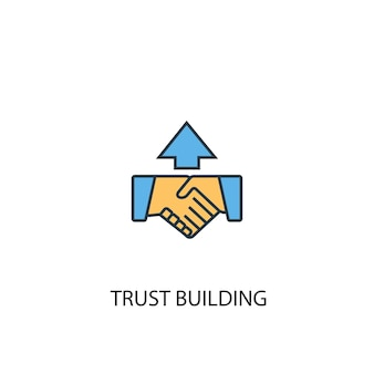 Trust building concept 2 colored line icon. simple yellow and blue element illustration. trust building concept outline symbol design