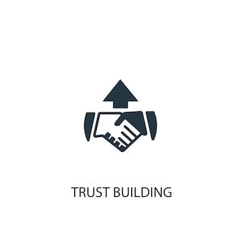 Значок здания доверия. простая иллюстрация элемента. доверительное здание концепции символ дизайна. может использоваться в интернете и на мобильных устройствах.