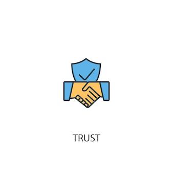 Концепция доверия 2 значок цветной линии. простой желтый и синий элемент иллюстрации. концепция доверия наброски символ дизайн
