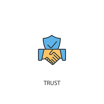 Trust concept 2 colored line icon. simple yellow and blue element illustration. trust concept outline symbol design