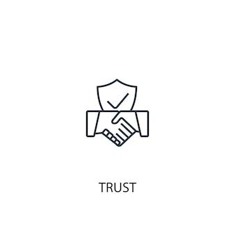 Значок линии концепции доверия. простая иллюстрация элемента. концепция доверия дизайн символа структуры. может использоваться для веб- и мобильных ui / ux