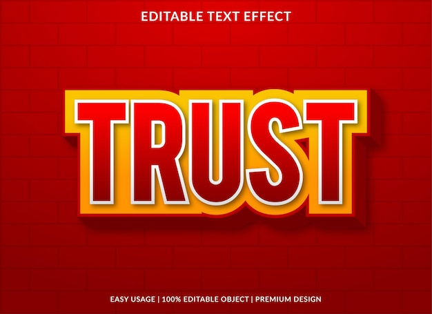 Trust editable text effect with modern and abstract style