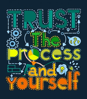 Trust the process and yourself motivational illustration.