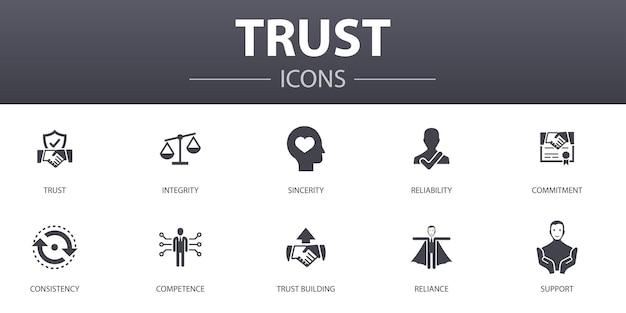 간단한 개념 아이콘을 신뢰하십시오. 무결성, 성실, 헌신, 신뢰 구축 등과 같은 아이콘이 포함되어 있으며 웹, 로고, ui/ux에 사용할 수 있습니다.