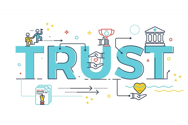 Trust word lettering typography design illustration